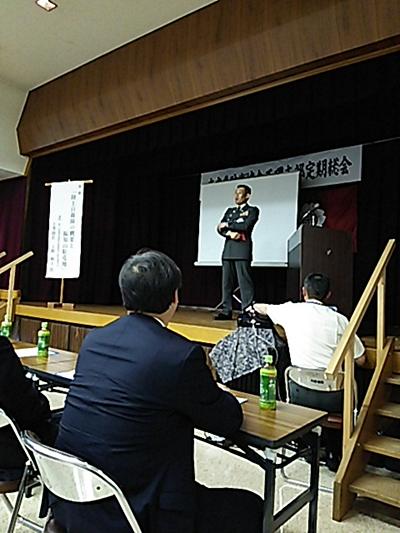 講演中の第7普通科連隊長 上野和士1等陸佐